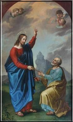 St. Peter, Apostle and First Pope: Jesus bestows on St. Peter the keys to heaven and also declares him the Rock upon which God will build his Church.