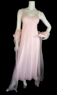 1960's Pink nylon chiffon 2 piece vintage lingerie set with beautiful nightgown and sheer robe.