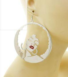 Afro Girl Earrings  Silver by TShirtsThatRock on Etsy, $9.99