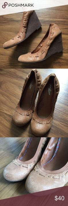 Lucky Brand Beautiful Soft Brown Shoes, Size 9.5 Lucky Brand Beautiful Soft Brown Shoes, Size 9.5. Wooden 4 inch heel. So very comfortable & super cute with pants, jeans, shorts & dresses! Have been gently loved and very good condition. A few small scuff marks shown in photos, many more great days of wear for the Lucky Brand lover❤ Matches well with other Lucky items in my closet listed. Lucky Brand Shoes