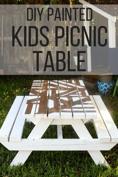 How to build and paint an adorable DIY kids picnic table - you can do it in an afternoon, and it's perfect for beginners! #diy #kids