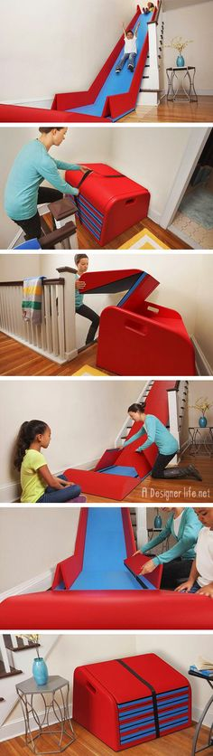 Awesome Products: A stair slide that converts your staircase into a slippery dip - A Designer Life Good.