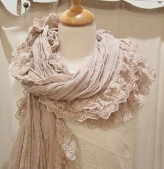 I think I couldd easily make this with gauze fabric and lace. Dye with tea for the color. <3