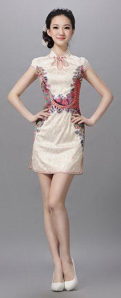 Floral waistline cheongsam with key wholes for collar