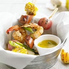 It's that time of  year! Shrimp Boil on a Stick - This kabob idea features your favorite shrimp boil flavors -- jumbo shrimp, sweet corn, new potatoes, and sausage -- in less than an hour.