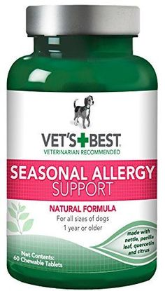 Vet's Best Seasonal Allergy Relief Dog Supplements, 60 Chewable Tablets, USA Made - Vet's Best Seasonal Allergy Support supplement for dogs (60 chewable tablets) helps to maintain normal histamine levels and skin health. Seasonal Allergy Support uses key natural ingredients (nettle, perilla leaf, quercetin, and citrus) to help dogs that suffer from seasonal allergies, along with...