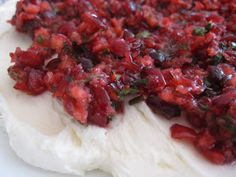 Fanksgiving: Cranberry Salsa Dip with Cream Cheese