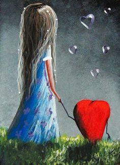 HEART ART whimsical adorable home small bubbles. Art Fantaisiste, Heart Art, Whimsical Art, Canvas Art Prints, Fantasy Art, Art Drawings, Illustration Art, Artsy, My Love