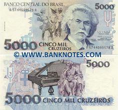 brazil currency | Brazil 5000 Cruzeiros 1993 - Brazilian Currency Bank Notes…