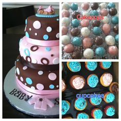 Baby shower cake, pops & cupcake  would need to change  colors