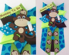 Monkey Baby Shower Corsage  Baby Boy   READY TO by CrazyCraftFrog