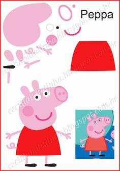 : Na přání - Formy Peppa Pig a jemu podobní Molde Peppa Pig, Cumple Peppa Pig, Pig Crafts, Felt Crafts, Crafts For Kids, Peppa E George, George Pig, Pig Birthday, 4th Birthday Parties