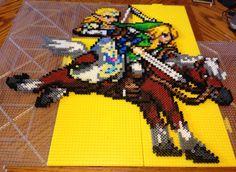 Legend of Zelda Twilight Princess: Zelda, Link, and Epona Perler bead Sprite