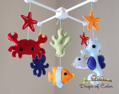 "Baby Crib Mobile - Baby Mobile - Nursery Crib Mobile - Ocean Mobile ""Under the Sea Creatures"" (You can Pick your colors). $90.00, via Etsy."