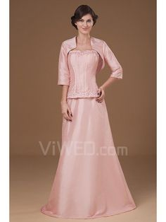 Taffeta Sweetheart Floor Length A-line Mother Of The Bride Dress with Embroidered and Jacket