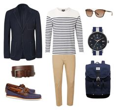"""Blazer marinho em look estilo náutico"" by canalmasculino on Polyvore featuring Prada, Topman, Witchery, Brooks Brothers, 1901, Burberry, Sandqvist, men's fashion e menswear"