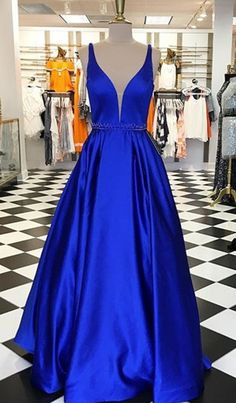 royal blue prom dresses,long prom dresses,a line prom dresses,simple prom dresses,beaded prom dresses