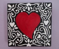 Valentines Day Red Heart Painting