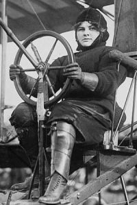 """On 6 Sep 1910, Blanche Stuart Scott, was the first American female to solo an aircraft even though it was unintentional during runway training. She was also the only woman to receive flight instruction from Glenn Curtiss (a founder of the U.S. aircraft industry) in Hammondsport, NY. In Oct. she became a member of the Curtiss exhibition team. Nicknamed the """"Tomboy of the Air"""", this accomplished stunt pilot went on to become the first female test pilot for Glenn Martin"""