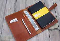 X Large Moleskine notebooks covers / Pen Sleeve - rustic yellow leather All in…