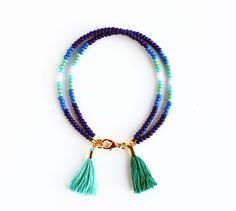 Double Tassel Beaded Friendship Bracelet - Navy Royal Blue Cobalt Teal Turquoise Mint White and Gold