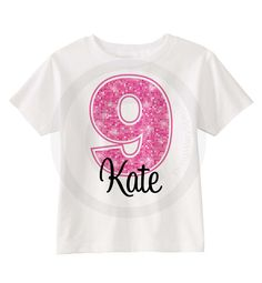 9th Birthday shirt for 9 year old girl, Personalized pink number ninth birthday Shirt 04092013c