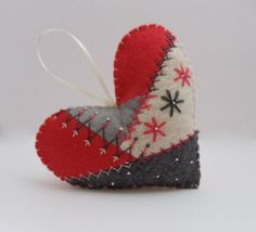 Crazy Quilt Felt Heart Ornament by BananaBugAndZod on Etsy, $16.50