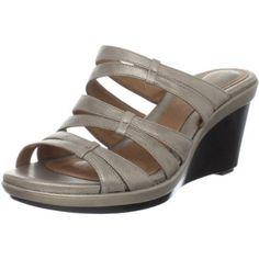 Clarks Women`s Seta Trill Wedge Sandal,Platinum Leather,7 M US