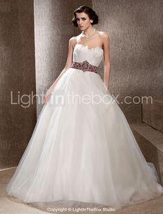 Fairy Feather Bodice Chapel Train Tulle Wedding Dress-ZZKKO