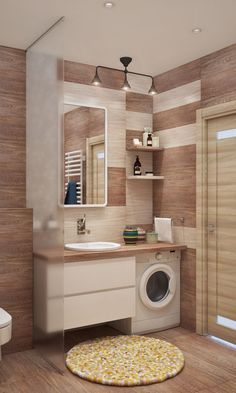 modern laundry rooms wood and white color nuance ideas to get fresh look everyday page 6 Toilet And Bathroom Design, Apartment Bathroom Design, Condo Bathroom, Small Space Bathroom, Laundry Room Bathroom, Modern Bathroom Design, Bathroom Interior Design, Room Tiles Design, Modern Laundry Rooms