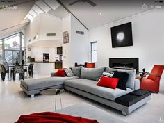 love the grey and red living room family room ideas pinterest rh pinterest com red white and black living room ideas red white and black living room