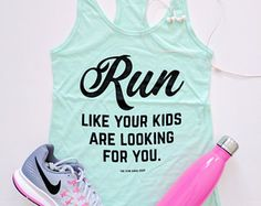 Run Like Your Kids Are Looking For You™ Cotton Jersey Racerback Tanktop