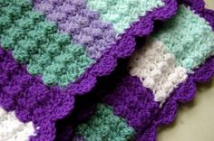 Quick and Easy Crochet Baby Blanket  (follow links to get a free pdf- Bubble's Baby Blanket)