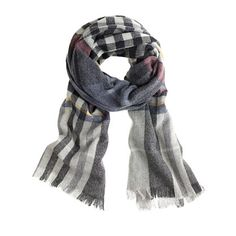 J.Crew - Plaid scarf.  Put this with the light gray boyfriend turtleneck and houndstooth asymmetrical zippered pencil skirt for a million dollar look.