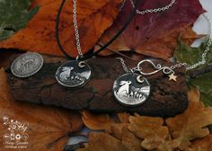 Moon Gazing recycled silver shillings pendant