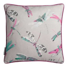 One of our most popular prints is now re-imagined in a printed cushion. This grey colourway features the dragonflies in pink and blue. The dragonflies were originally drawn by hand in our London studio. Matthew Williamson, Soft Furnishings, Pink Grey, Gift Guide, Cushions, Throw Pillows, Prints, Dance, Dragonflies