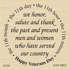 Veterans Day Greeting Rubber Stamp By DRS Designs:Amazon:Arts, Crafts & Sewing