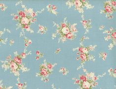 Yuwa Pink Roses on Blue Cotton Fabric 812874C by agardenofroses