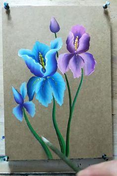 Canvas Painting Tutorials, Diy Canvas Art, Art Painting Gallery, Acrylic Painting Flowers, Flower Art, Watercolor Art, Draw, Pencil Painting, Watercolor Landscape Paintings
