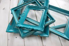 Blue Frame Grouping Peacock Lagoon Blue Set Collection Wedding Decor Large Frame Set on Etsy, $68.00