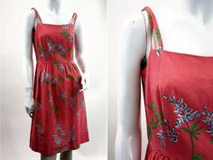 Vintage Handmade Pink Open Back Floral Sundress by ELOFSON on Etsy