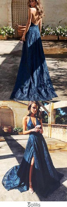 Buy Spaghetti Straps V Neck Lace Prom Dress with Split Side Backless Long Formal Dresses online.Shop short long ombre prom, homecoming, bridesmaid evening dresses at Couture Candy Cocktail party dresses, formal ball gowns in ombre colors. Navy Blue Prom Dresses, Plus Size Prom Dresses, Backless Prom Dresses, Lace Evening Dresses, Cheap Prom Dresses, Evening Gowns, Formal Dresses, Party Dresses, Navy Blue Gown