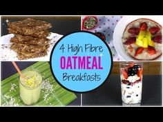 4 High Fibre OATMEAL Breakfasts -no bake bars- pb, oats, & maple syrup, add inss like cocoa powder nuts and seeds- heat on stove, press into pan, and refrigerate