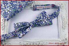 Set Noeud Papillon et Pochette costume assortie Tissu Liberty Meadow blue - Homme / enfant / bebe