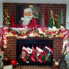 Our fireplace decorated for Christmas!