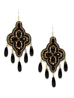 Black Onyx & Gold Bead Chandelier Earrings by Miguel Ases $189 on Gilt.com