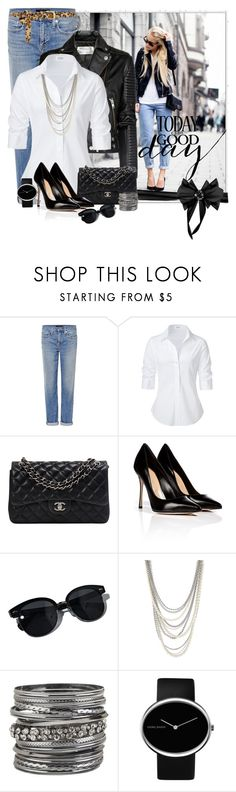 """Blue Jeans and White Shirt"" by bbroxton ❤ liked on Polyvore featuring Genetic Denim, Steffen Schraut, Chanel, Sergio Rossi, Oliver Peoples, Henri Bendel, maurices, Georg Jensen, Dorothy Perkins and women's clothing"