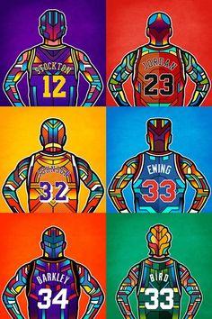 NBA Legends Digital Stained Glass Art
