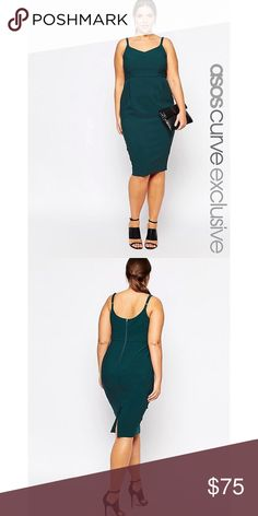 ASOS CURVE Forest Green Pencil Dress Midi Business Brand new without tags. Lovely pencil dress has a lot of stretch!!! And adjustable straps. Works for so many occasions. Price is firm. ASOS Curve Dresses