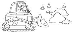 Transportmittel: Kostenlose Malvorlage: Bagger auf der Baustelle zum Ausmalen